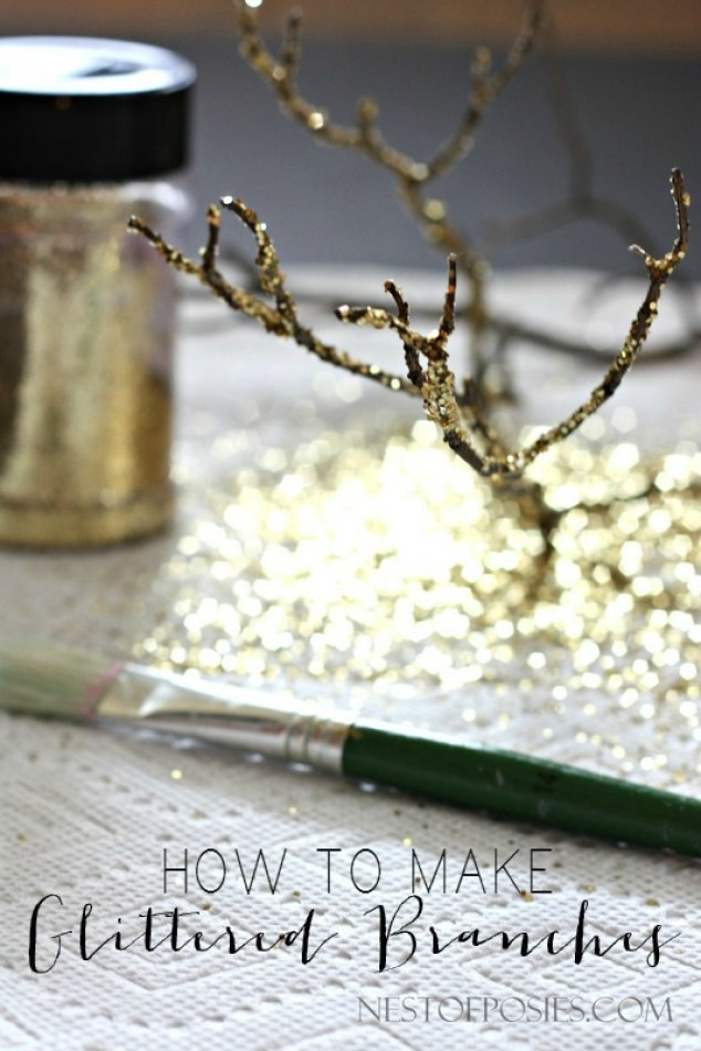 How to make Glittered Branches.  Using branches from your backyard!