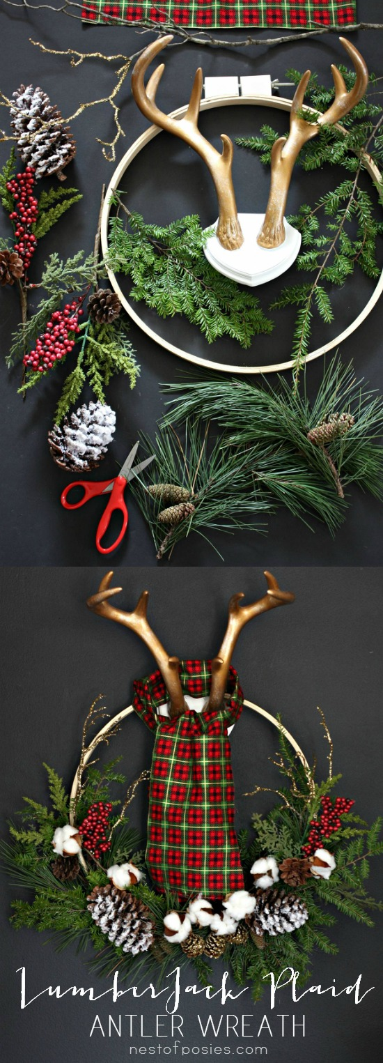 LumberJack Plaid Christmas Wreath.  A full tutorial using fabric remnants, tree cuttings and an embroidery hoop