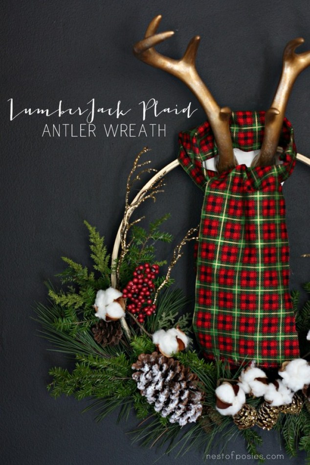 Lumberjack Plaid Antler Wreath.  Made with a 4 dollar embroidery hoop and back yard trimmings