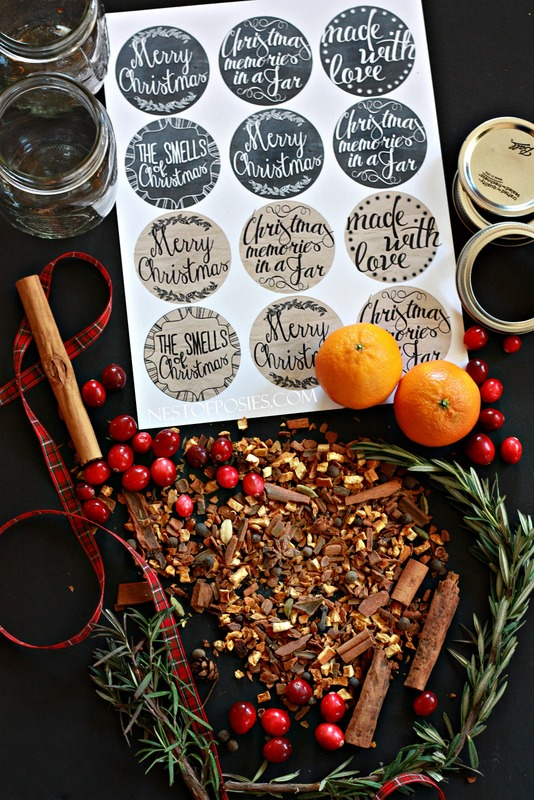 The perfect homemade gift!  The smells of Christmas in a jar with free printables for your jar lids.