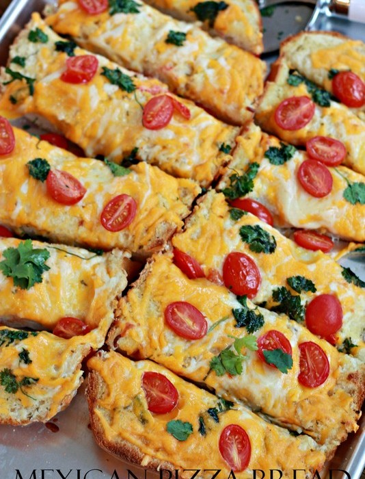 Mexican Pizza Bread!  Insanely good and budget friendly for family meals or for parties.
