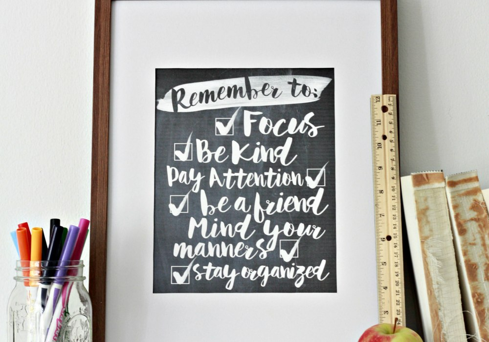 Goals for back to school.  Free printable in 8x10 or 11x14. In many color options.