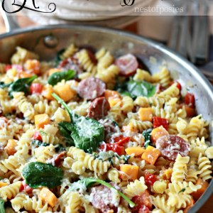 One Pan Harvest Pasta.  The convenience of a one pan meal, with veggies for your family but loaded with pasta and cheese!