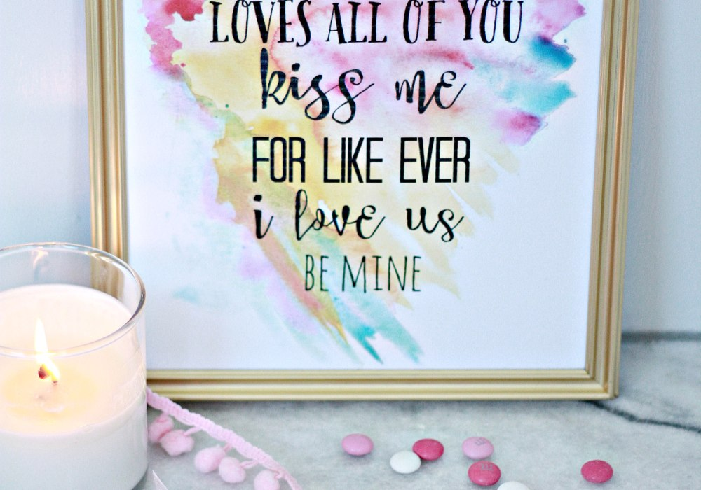 Valentine Printable with watercolor heart