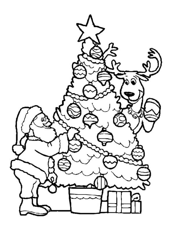 Santa Claus Decorating Christmas Tree with the Reindeer on Christmas - best of santa coloring pages to print free