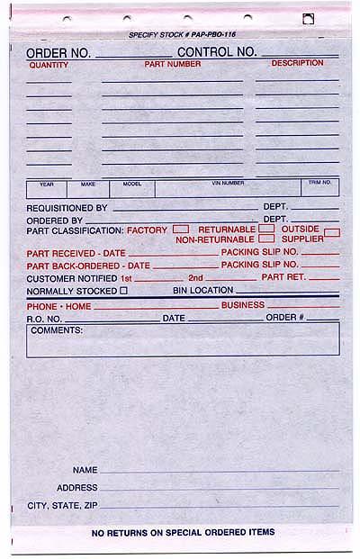 Parts Special Order Form 500 Box NetBankStore