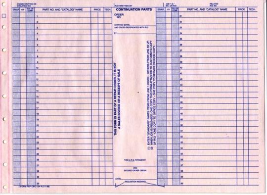 Continuation Parts Order Form NetBankStore