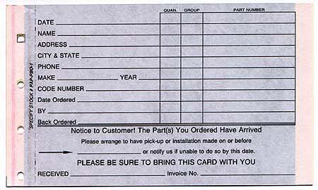 Parts Special Order Form