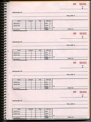 Coil Bound Cash Receipt Book Pre Numbered Priced each NetBankStore - cash recepit