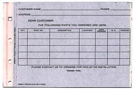Parts Special Order Form 4 Part NetBankStore