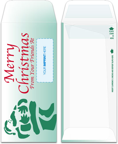 Holiday Drive-Up Envelopes - Green Santa Merry Christmas