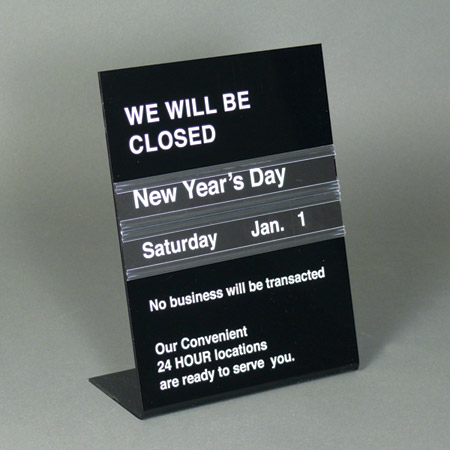 perpetual holiday sign for counter top 85w x 11 h printing with - holiday signs for closing office