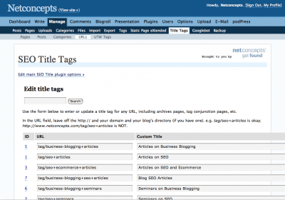 Mass edit title tags by URL