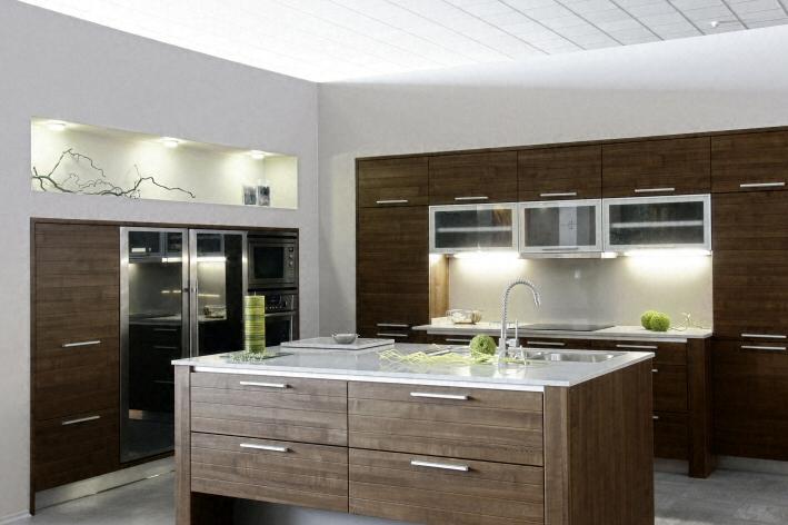 Cuisine - Plan de travail en îlot de cuisine moderne, clair, en quartz