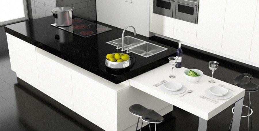 wwwnetovia cuisine Plan-de-travail-en-ilot-de-cuisine - cuisine avec ilot central et table
