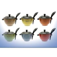NEW CERAMIC SOUP BOWL WITH LID & SPOON ASSORTED COLOURS | eBay