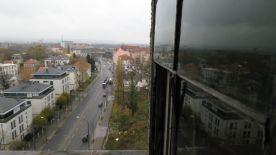 Die Antonstraße vom Hochhaus aus gesehen.