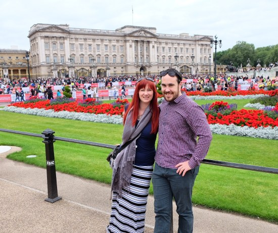 Jacqui and Dan at Buckingham Palace in London