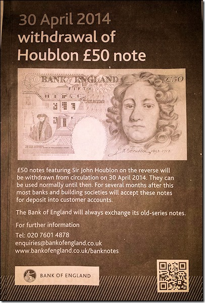 Ad: withdrawal of £50 'Houblon' banknote