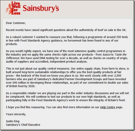 Sainsbury's email
