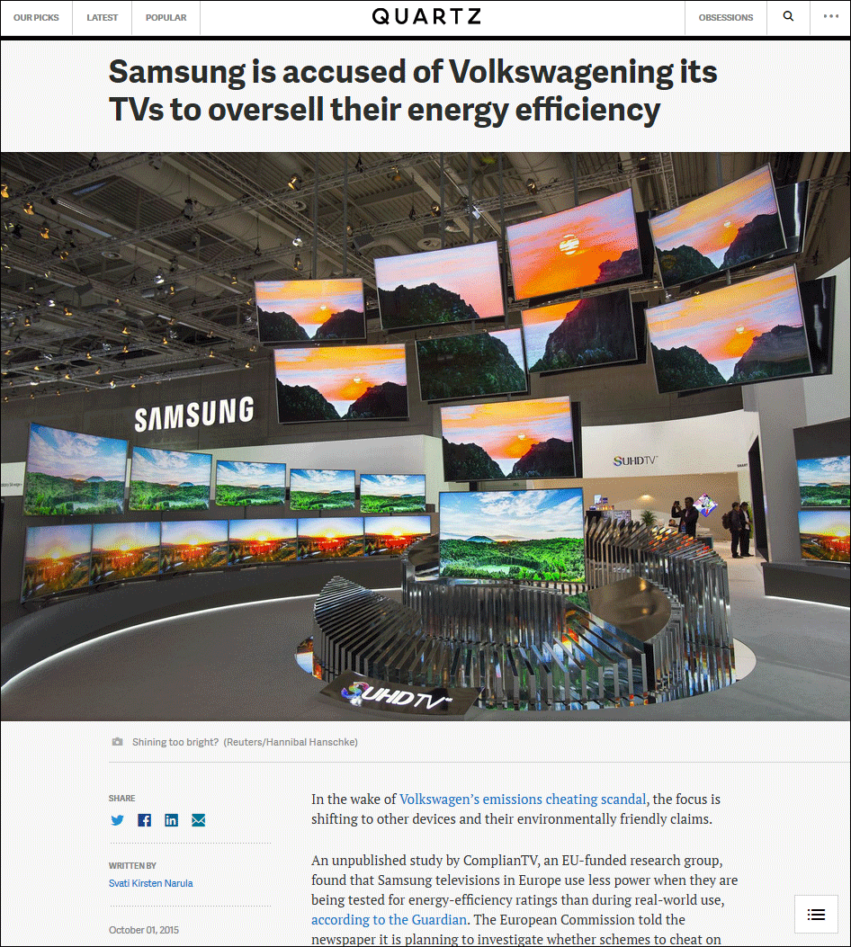 QZ.com: Samsung is accused of Volkswagening its TVs to oversell their energy efficiency