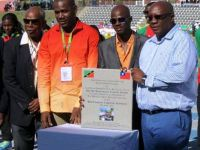 His Excellency the Right Honourable Sir. Kennedy Simmonds (left), Fifth National Hero,  Honourable Shawn Richards (2nd left) Minister of Sports, Kim Collins (2nd right) and Dr. the Honourable Timothy Harris (right) Prime Minister of St. Kitts and Nevis, during the renaming of the Jubliee Stadium to Kim Collins National Stadium