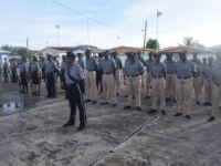 Police Officers and Recruits at Parade Rest during Commissioner's Parade