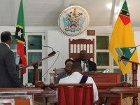 A sitting of the Nevis Island Assembly Chambers in session with Premier of Nevis Hon. Vance Amory addressing the Assembly's President Hon. Farrel Smithen with Assembly Clerk Shemica Maloney and Sargent of Arms from the Royal St. Christopher and Nevis Police Force in attendance (file photo)