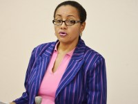 Minister of State, Honourable Wendy Phipps presents in National Parliament