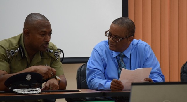 Permanent Secretary Petty and Commissioner Queeley at recent Immigration Dept Training, both gave remarks.