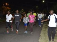 The police has been engaging the public in different ways. A monthly health walk is one such activity.  Photo courtesy the Royal St. Christopher and Nevis Police Force