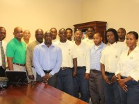 Some linesmen from the Nevis Electricity Company Ltd. at the opening ceremony of the Nevis Electricity Company Ltd. Distribution and Transmission Training Workshop on September 05, 2016 at its conference room at Long Point with (left) Acting Manager Jervan Swanston, (second from left) Technical Trainer from Barbados Light and Power Curtis Brewster, (third from left) Transmission and Distribution Manager Ian Ward, (fourth from left) Chairman of the NEVLEC Board of Directors Farrell Smithen and (fifth from left) Minister  responsible for Public Utilities in the Nevis Island Administration Hon. Alexis Jeffers