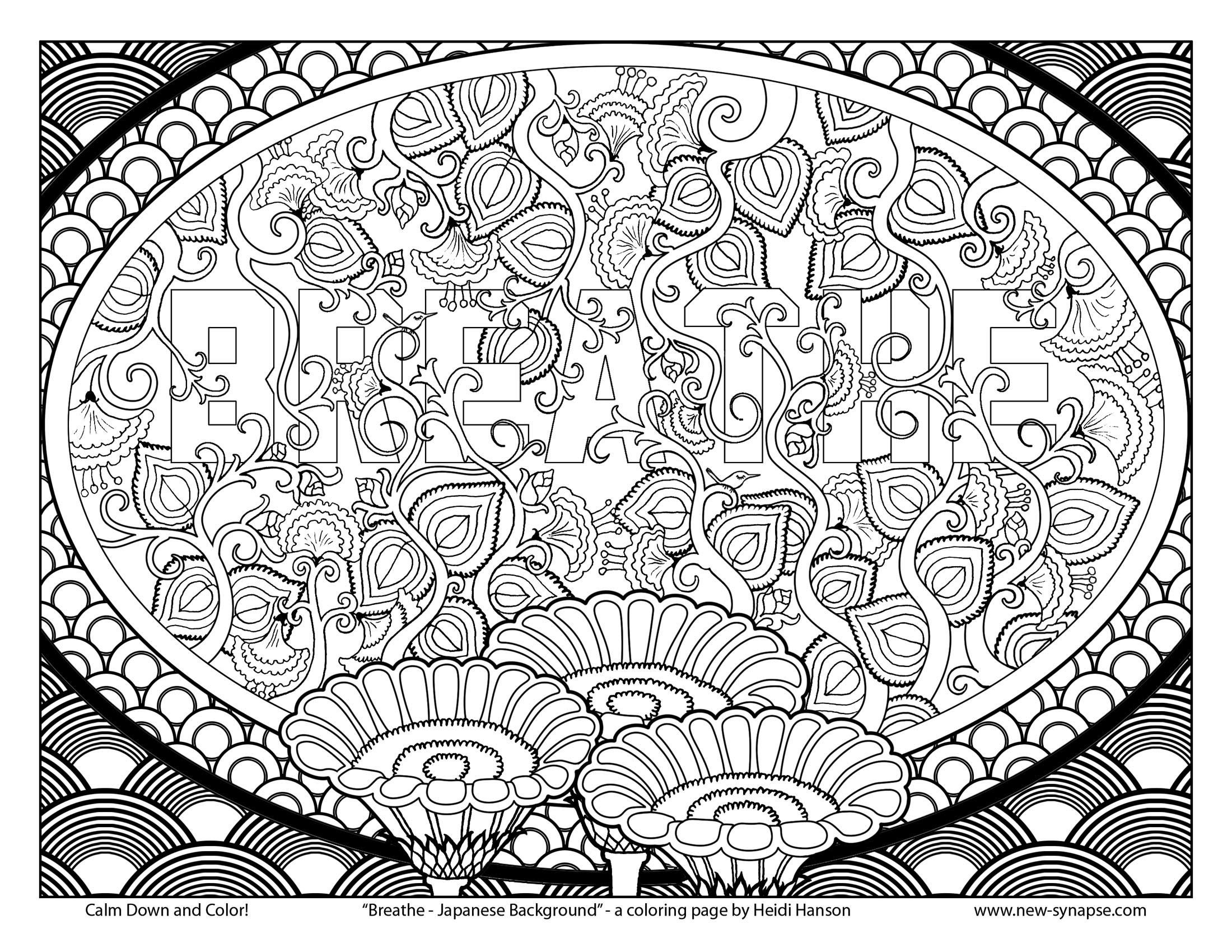 Free coloring page breathe japanese background