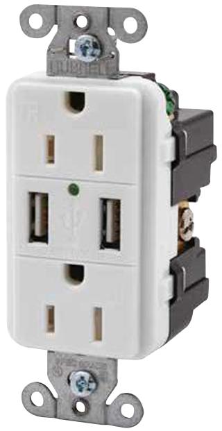 USB15X2W - HUBBELL WIRING DEVICES - USB Charger Receptacle, Tamper