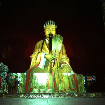 A sculpture of Zhuge Liang