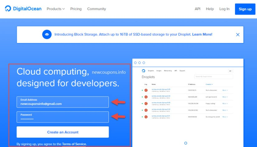 1-1 how signup and create droplet at digitalocean