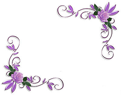 18 Flower Corner Page Border Design Images - Purple Flower Corner