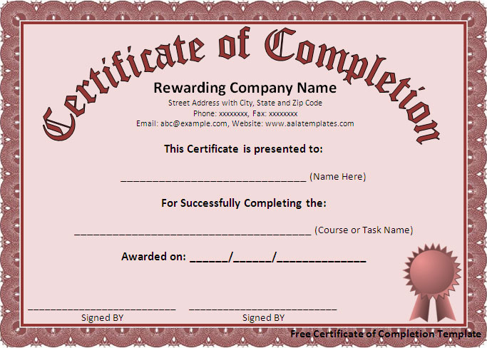 ms word certificate of completion template - Onwebioinnovate - certification of completion template