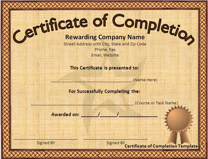10 Certificate Of Completion Templates Free Download Images - Free