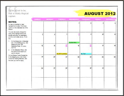 20 Microsoft Blank Calendar Template Images - Microsoft Word