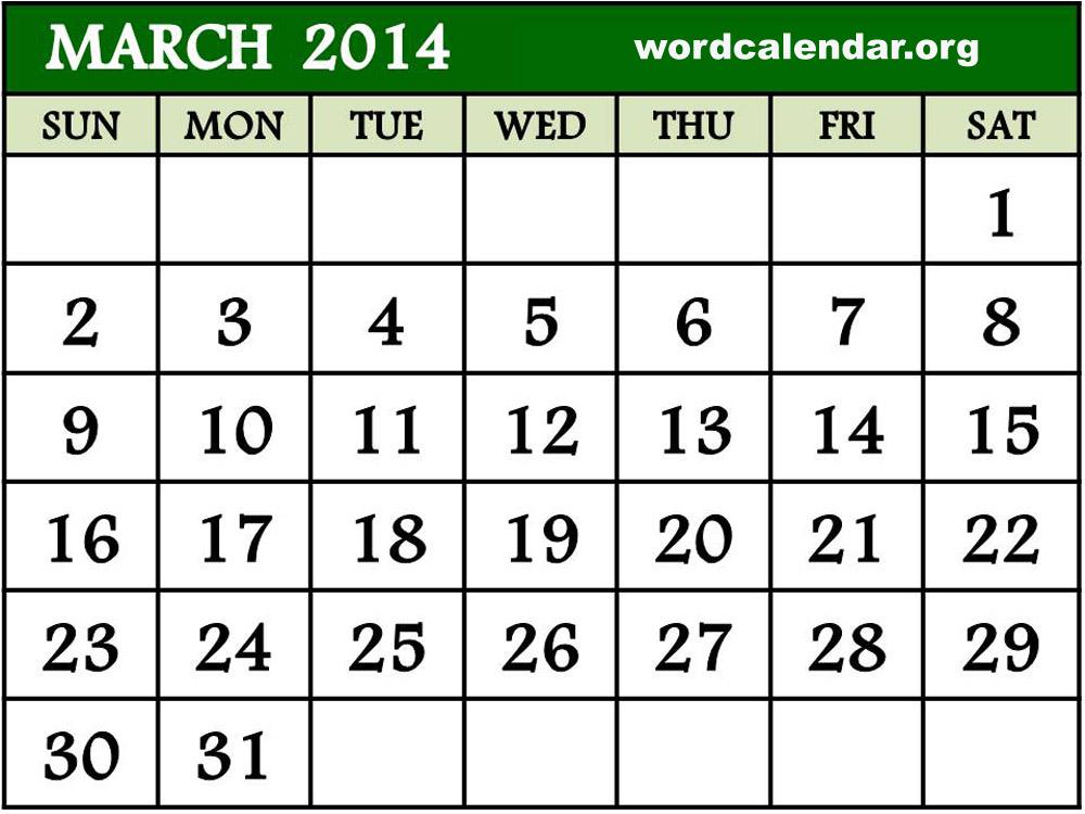 17 2014 Calendar Template Images - 2014 Calendar Word, Printable