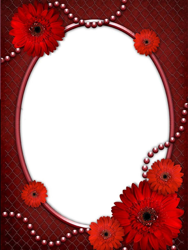 15 Red Frame PSD Picture Images - Red Flower Borders and Frames