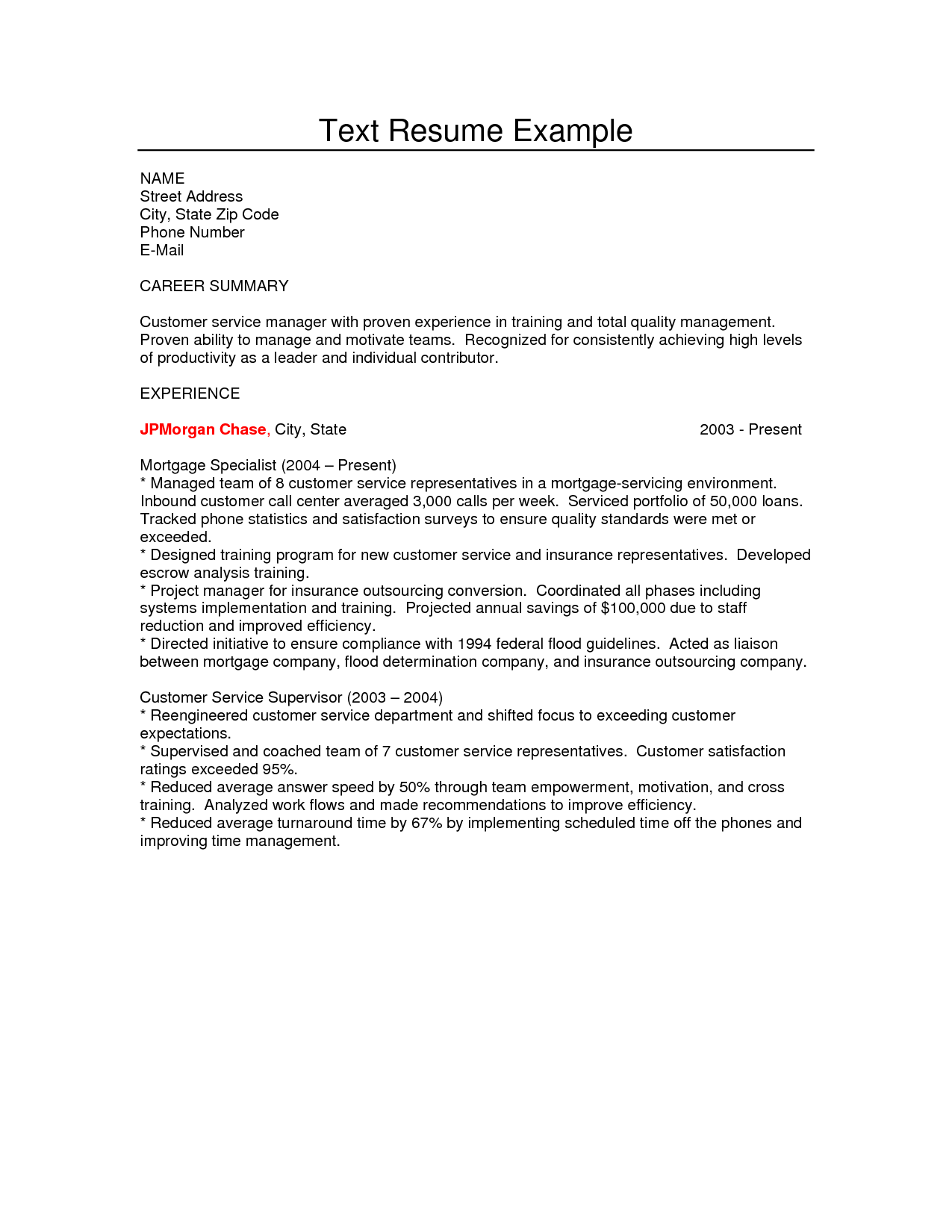 Jp Morgan Cover Letter Ideas 7 How To Make A Plain Text Resume