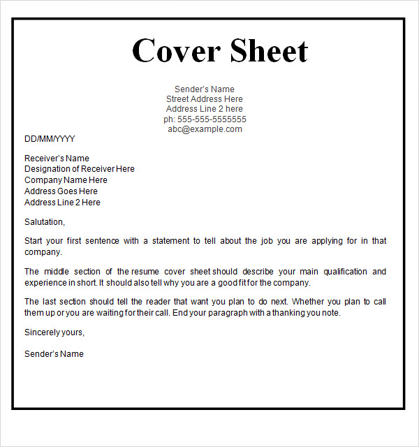 cover sheet resume template - 28 images - sle cover sheet template 9