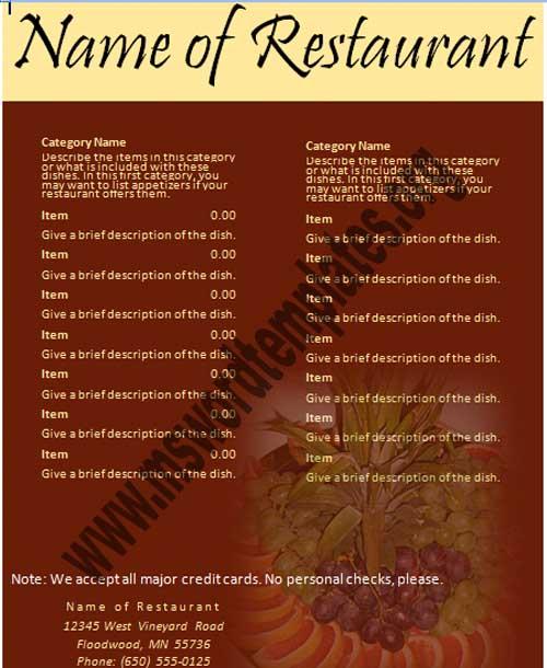 restaurant menu templates word - Goalgoodwinmetals