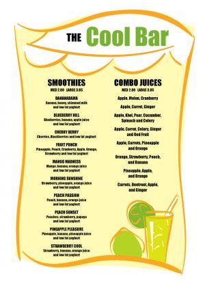 Free Juice Bar Menu Template Restaurant Signage Templates