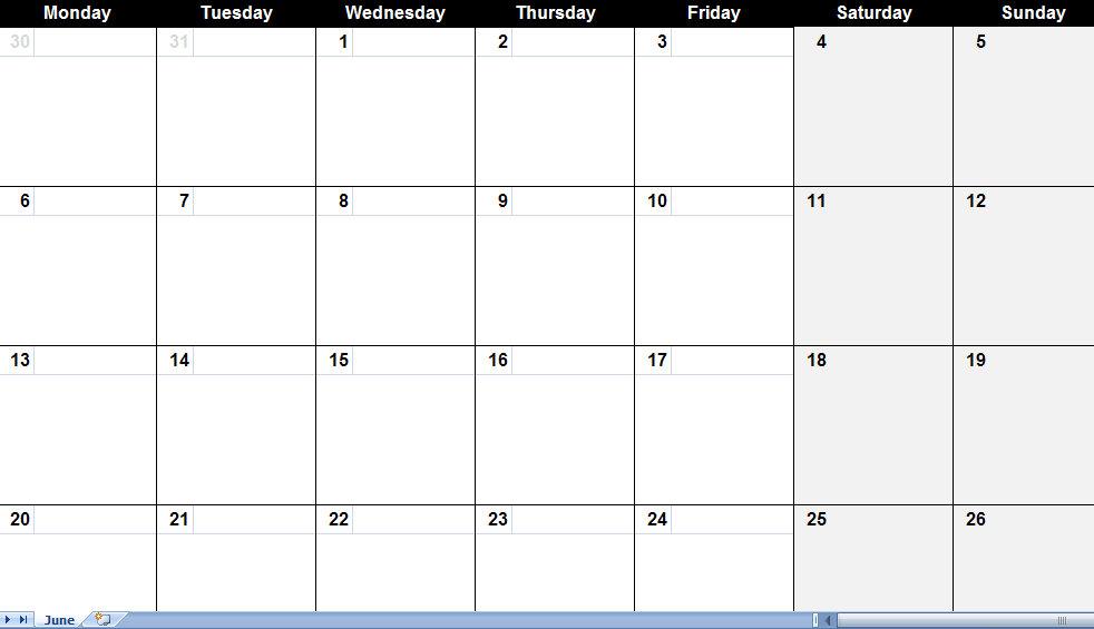 16 Blank Calendar Template Images - Printable Blank Monthly Calendar