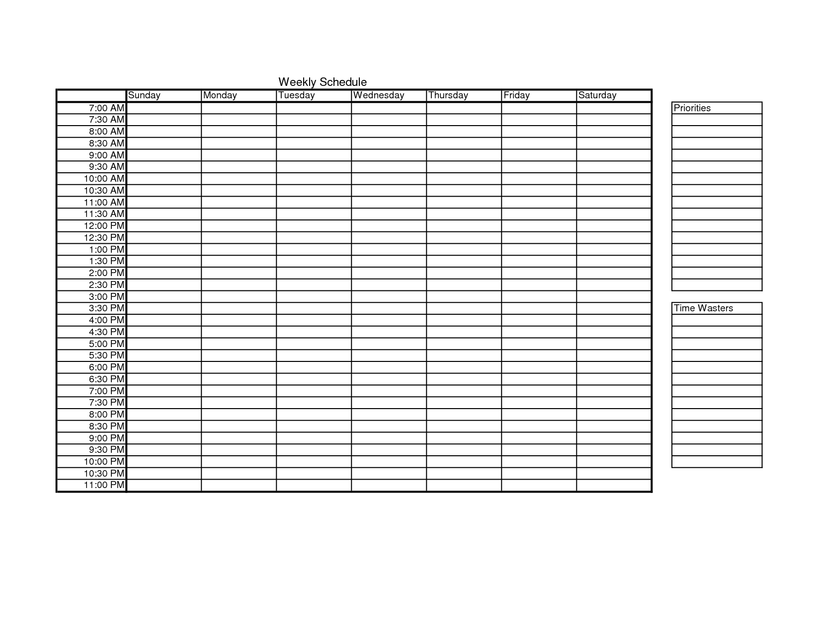 Blank Monthly Work Schedule Template – Monthly Work Schedule Template