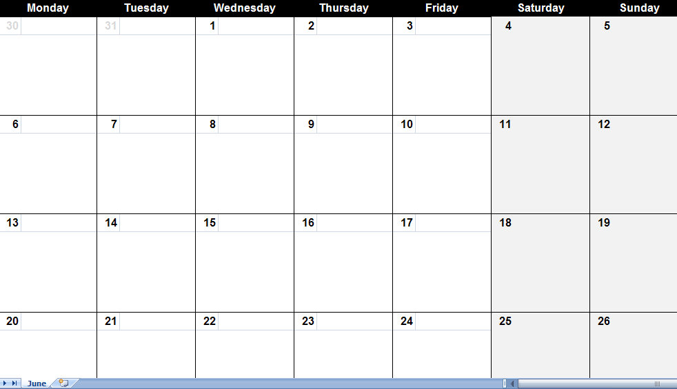 Blank One Month Calendar Template Image collections - template