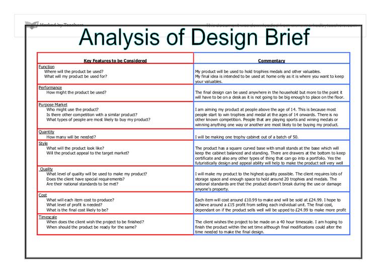 Engineering Design Brief Template - Costumepartyrun